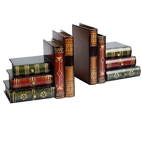 Kunst-buchstützen,Buchstützen dekoration Buchstützen set Woody Aufbewahrungsbox Simulation-book-datei Vintage Bücherregal Bücher Dekoration]-B