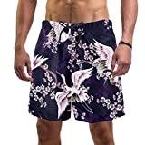 Eslifey Pantalones cortos elásticos del tablero del traje de baño del modelo de la grúa blanca para los hombres