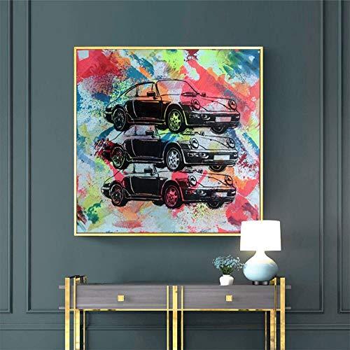 hetingyue Aquarell Graffiti Sportwagen abstraktes Bild Wandkunst Drucke und Poster Street Art Malerei rahmenlose Malerei 30X30CM