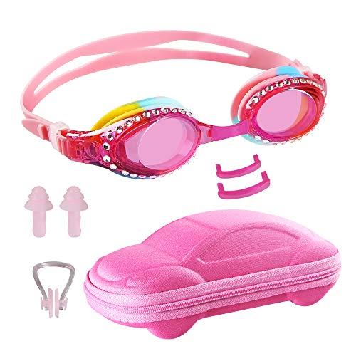 Ambielly Occhiali per Bambini Nuoto, Occhiali da Nuoto Anti-Appannamento per Bambini, Occhiali da Nuoto Senza perdite per Bambini (Pink)