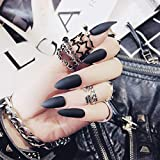 editTime 24PCS Solid Colors Acrylic Stiletto False Nails Full Cover Fake Nails...