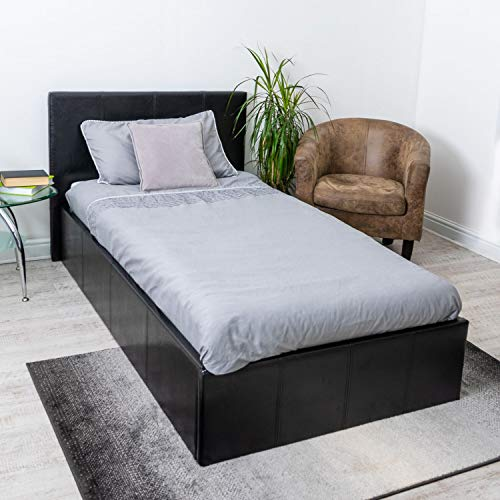 Home Treats Black Ottoman Bed Frame with Lift Up Storage. Prado Gas Lift Storage Bed (Single 3ft)