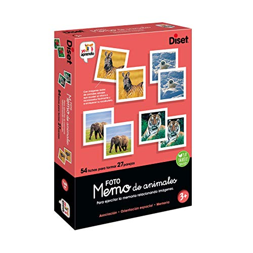 Diset- Memo Photo Animals Juego Educativo para Niños, Multicolor (68941)