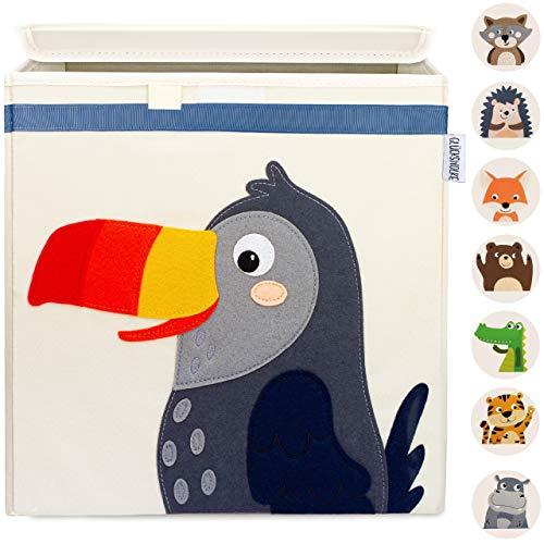 GLÜCKSWOLKE Kinder Aufbewahrungsbox - 10 Motive I Spielzeugkiste mit Deckel für Kinderzimmer I Spielzeug Box Tukan (33x33x33) zur Aufbewahrung im Kallax Regal I Dschungel Kiste (Toni Tukan)