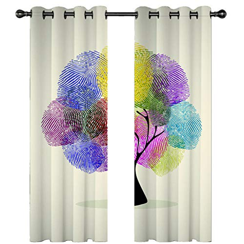 Leeypltm 1 set 2 Panels -3D Blackout Curtains, Curtain For Eyelet, Pleat Curtains, Tents for colored trees2 x W 46 x D 72inch,Apply to: bedroom/living room/balcony, etc.
