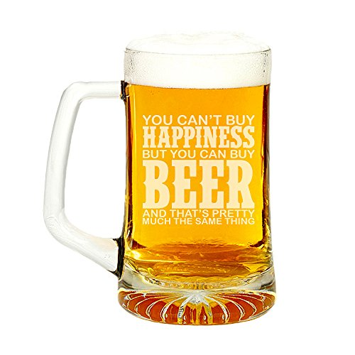 You Can't Buy Happiness But You Can Buy Beer Engraved Glass Beer Mug 15-ounce