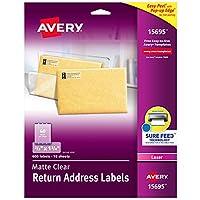 """Avery マットクリアリターンアドレスラベル Sure Feed Technologyレーザー加工 2/3インチ x 1-3/4インチ 600ラベル 5パック (15695) 2/3"""" x 1-3/4"""""""