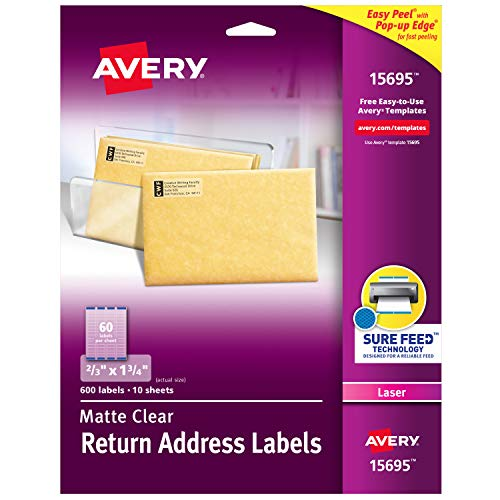 Avery Clear Easy Peel Return Address Labels for Laser Printers 2/3' x 1-3/4', Pack of 600 (15695)