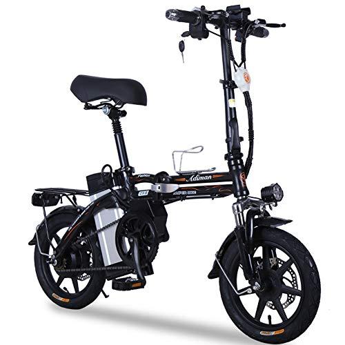 ONLYXKZ Bicicleta Plegable, Bicicleta eléctrica, batería de Litio, Bicicleta eléctrica para Adultos, con batería de Iones de Litio extraíble, Palanca de Cambios, Color Negro, tamaño 8A