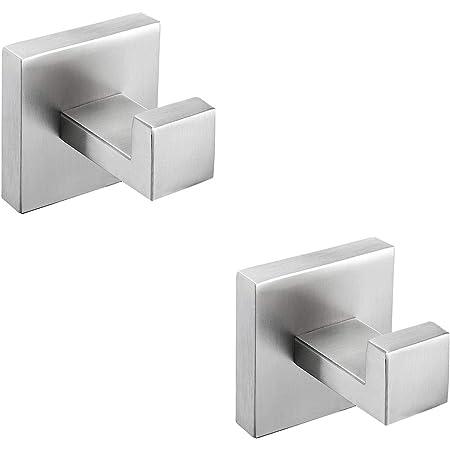 Double Towel Hook Angle Simple Sus304 Stainless Steel Bath Towel Holder Bathroom Double Robe Hook Hand Towel Hanger Wall Mount Brushed Nickel