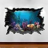 Liuxz Etiqueta de la Pared Acuario de Peces Tropicales 3D Color Etiqueta engomada del Arte de la Pared calcomanía niños niñas Dormitorio