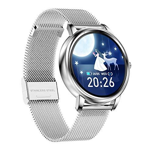 WuMei101 Pulsera Inteligente de Las Mujeres 1.09 Reloj de Moda de Mujer con Pantalla Redonda Completa, Reloj de Pantalla de Color de Mujer, rastreador de Actividades con Ritmo cardíaco/sueño/podóm