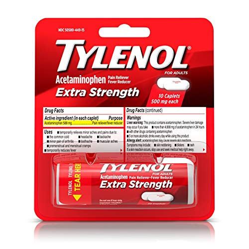 Tylenol, Extra Strength Caplets with 500 mg Acetaminophen Pain...