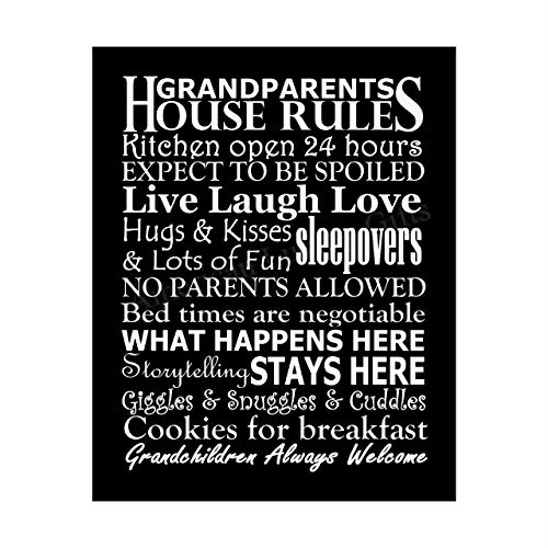 'Grandparents-House Rules' Family Wall Art -8 x 10' Funny Typographic Poster Print-Ready to Frame. Inspirational Home-Kitchen-Farmhouse Decor. Great Welcome Sign! Perfect Gift for Grandma & Grandpa!
