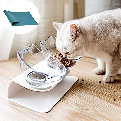 15°Elevated Cat Food Bowls with Silicone Pet Mat, Double Raised Cat Transparent Plastic Bowl with Stand, Stress-Free Suit for Cats and Small Dogs, Anti Vomiting cat Bowl, Cute Cat Face Bowl