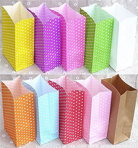 Tyro - Bolsas de Papel con Diseño de Lunares de Colors (18 x 9 x 6 cm), Color blanco