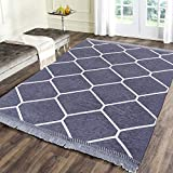 Zesture Bring Home chennile Living Room Carpet,Area Rug,durries- 4.5 ft x 6 feet (Grey)
