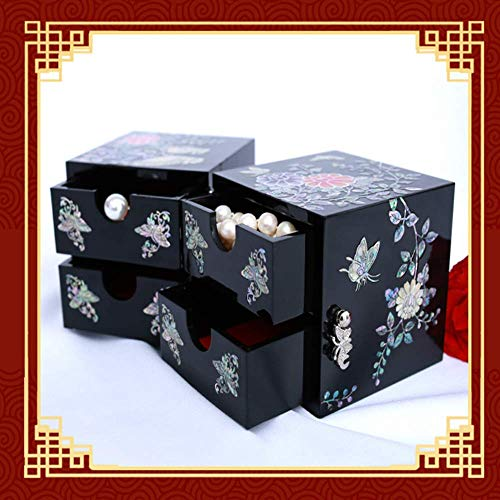 Beiyi - Caja de joyería con concha de laca retro y pequeña joyería para collares, pendientes y relojes, caja de almacenamiento