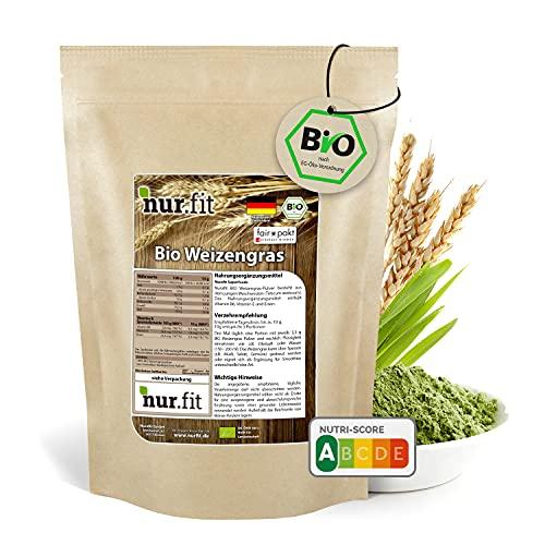 nur.fit by Nurafit BIO poudre d'herbe de blé 250g - poudre naturelle pure d'herbe de blé sans additifs provenant de culture allemande - poudre pour smoothie vert certifiée bio