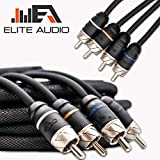 Elite Audio Premium Series 100% OFC Copper RCA Interconnects Stereo Cable, 4 Channel 17' Cord (4 x RCA Male to 4 x RCA Male Audio Cable, Double-Shielded with Noise Reduction, 17 Feet Long)