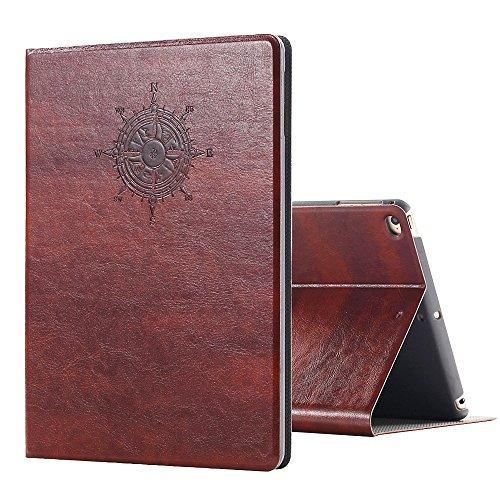 Miniko iPad Air Vintage Brown Book Type Leather Case Flip Cover, (TM) Modern Vintage Book Style Case for iPad Air Premium PU Leather Smart Case Auto Sleep Wake Slim Fit Multi Angle Stand