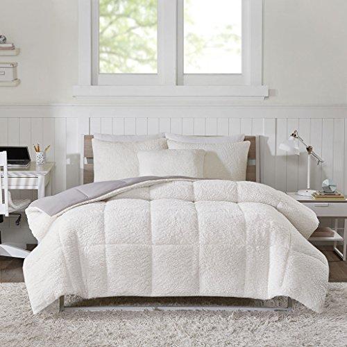 Intelligent Design Jensen Reversible Sherpa Berber To Softspun Flannel Warm Hypoallergenic Comforter Set Bedding, Full/Queen Size, Grey 3 Piece