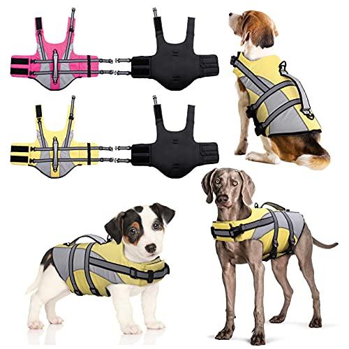 Hundeschwimmweste verstellbar Hund Schwimmweste Float Coat Ripstop Hund Sicherheitsweste Einstellbar Konservierer mit hohem Auftrieb und Haltbarem Rettungsgriff für kleine mittelgroße und große Hunde