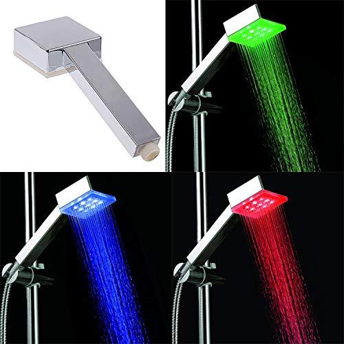 Omnidomo Eco LED Shower Doccia con Luce, Argento, 6x 8x 22cm