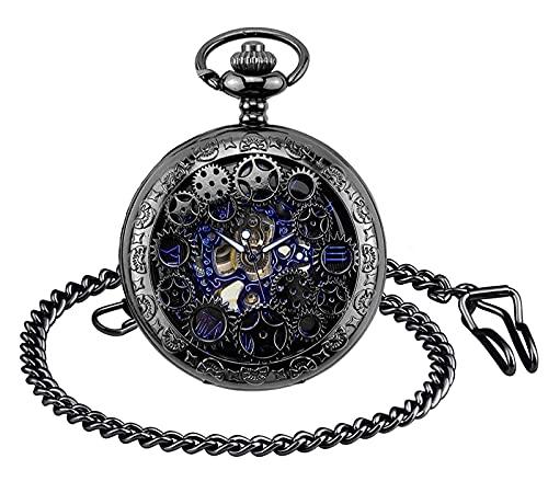 SUPBRO Reloj de bolsillo para hombre y mujer, retro, analógico, con cadena, reloj mecánico, Negro ,