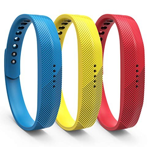 """WindTeco 3 x Fitbit Flex 2 Cinturino, Braccialetto Morbido Sportivo di Ricambio per Fitbit Flex 2 Smartwatch Fitness, Taglia L (6.7\""""-8.11\"""",170mm-206mm) - Blu, Giallo, Rosso"""