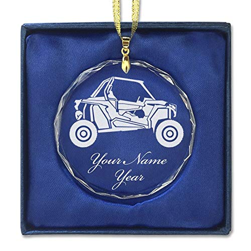 LaserGram Christmas Ornament, Off Road Racer, Personalized Engraving Included (Round Shape)