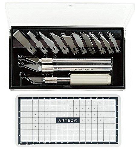 Arteza Juego de cuchillas para manualidades | Cutter de precisión para bellas artes | Incluye 3 mangos de bisturí + Alfombrilla de corte (17 piezas en total)
