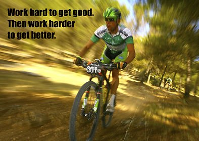 MOTIVATIONAL - mountainbike - fiets - Werk hard om goed te krijgen - quote - A3 poster, print