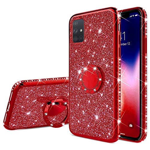 Herbests Kompatibel mit Samsung Galaxy A51 Glitzer Hülle Bling Diamant Schutzhülle Strass Glänzend Überzug Silikon Handyhülle Durchsichtig Handytasche mit Ring Ständer Halter,Rot