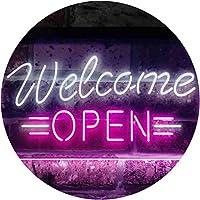 Open Welcome Shop Display Dual Color LED看板 ネオンプレート サイン 標識 白色 + 紫 300 x 210mm st6s32-i2267-wp