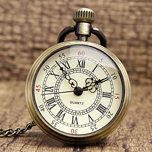 whbage Wecker, einfache Taschenuhr, Quarz, römische Ziffern, bronzefarben, Steampunk, 82 cm, transparente Uhr
