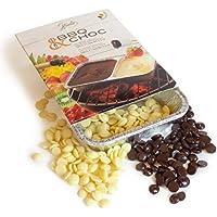 2x100g BBQ CHOC - Fondue de chocolate para la parrilla - negro y chocolate blanco - con 2 cuencos