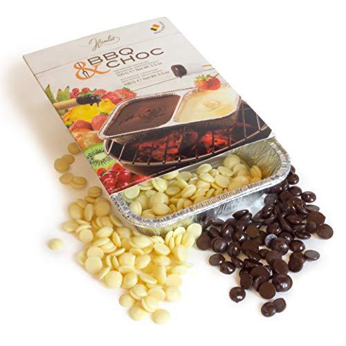2x100g BBQ CHOC - Fondue Schokolade für Grill - Schokoladenfondue aus Belgischen Schoko Drops mit Weißer und Zartbitterschokolade - mit 2 Schalen