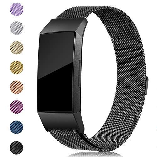 Onedream Kompatibel für Fitbit Charge 3 Armband Damen Herren Metall Edelstahl Ersatzarmband Schwarz Small