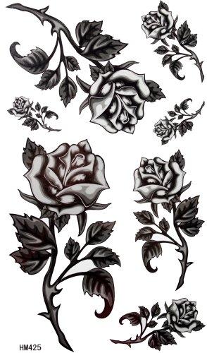 King Horse roses noires barbelés tatouage femmes autocollants imperméables