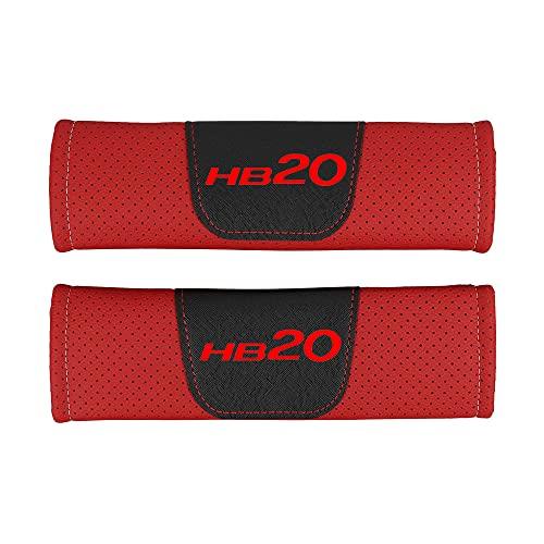 AKMEYI 2 Piezas Almohadillas para Cinturón de Seguridad de Cuero para Hyun-Dai HB20 HB 20, Cuero PU Transpirable Almohadillas Protectores de Coche Hombro, con Emblema