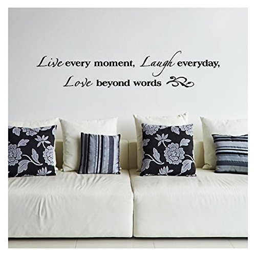 "Live Every Moment, Laugh Everyday, Love Beyond Words Vinyl Lettering Wall Decal Sticker (8""H x 40""L, Black)"