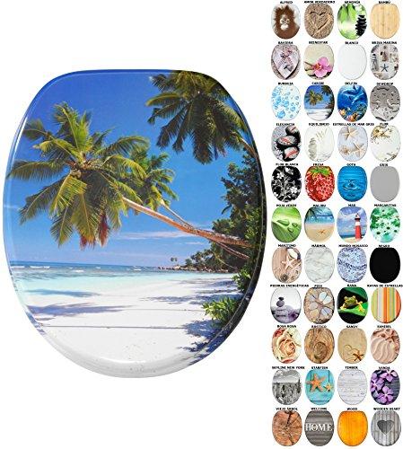Asiento para inodoro de cierre suave, gran selección de atractivos asientos de inodoro con calidad superior y duradera de madera (Caribe)