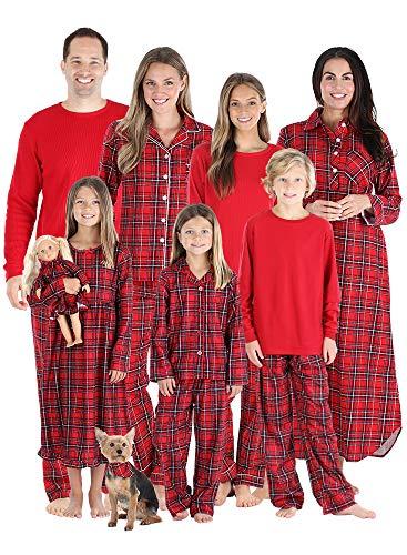 SleepytimePJs Christmas Family Matching Red Plaid Flannel Pajama Sets, Red Plaid, Men's Lounge Set XL