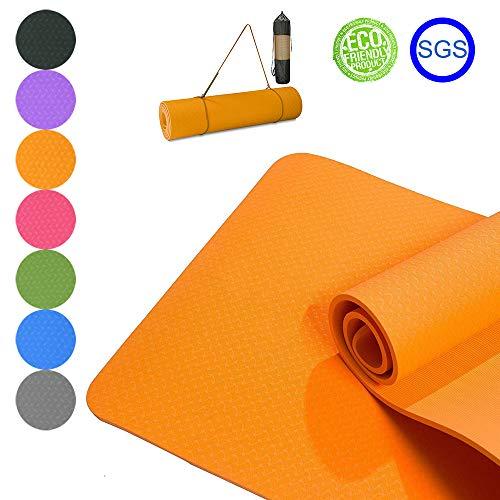 Good Times yogamat, gymnastiekmat, antislip, TPE, milieuvriendelijk, hypoallergeen, huidvriendelijk, SGS-getest, fitnessmat, sportmat, met tas & draagband, 183 x 61 x 0,8 cm