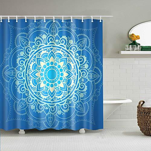 YONG-SHENG Indische Mandala Duschvorhang Digital Gedruckt Wasserdicht & Mildewproof Polyester Gewebe Wohnaccessoires Eingestellt mit Haken 180cm x 180cm (Style 8)