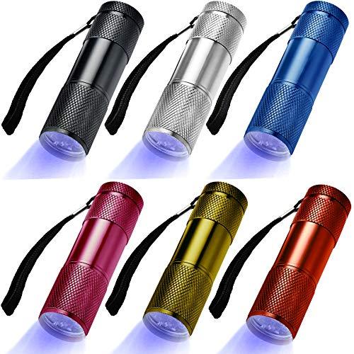 LEAGY 6 Pack Linterna UV Luz Negra, 9 LED 395 nm Ultravioleta Blacklight Detector para Perro Orina, Mascotas manchas y Cama Bug, multicolor