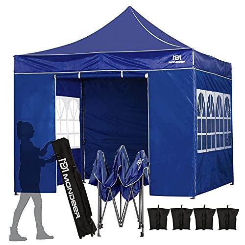 Mondeer Tonnelle de Jardin3Mx3M ,Pliante Tente de Imperméable avec Revêtement PU, Tente Pop-up,Camping Pavillon,Cadre en Acier Robuste, 4 côtés , pour Mariages en Plein air et Fêtes(Bleue)
