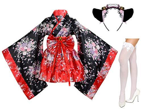 Japanese Anime Lolita Cherry Sakura Flower Printing Kimono Costumes Fancy Dress Maid cat Headband Socks Set(DHF002) Red L