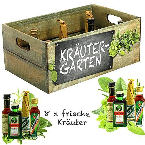 Creofant Kräutergarten · Witzige Geschenkidee für Männer und Frauen mit Alkohol · 8 x Kräuter-Likör · Hochwertige Geschenkbox